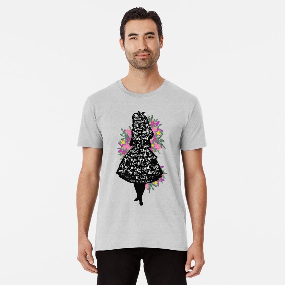 Alice im Wunderland Zitat Silloette Premium T-Shirt
