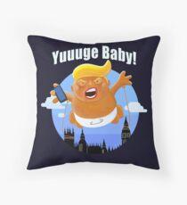 Trump Inflatable Huge Baby Blimp England Scotland Tour  Throw Pillow