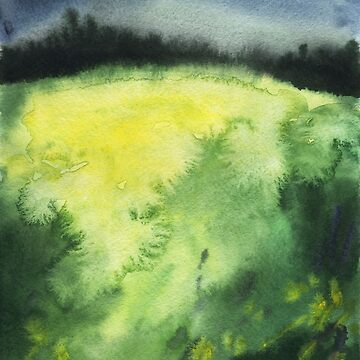 Watercolor landscape yellow field by OlgaBerlet