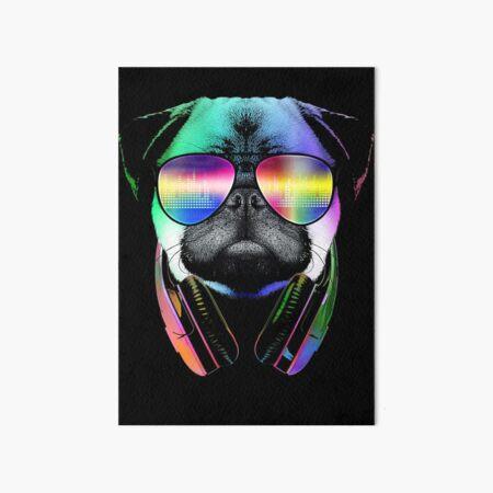 Music Love Pug Art Board Print