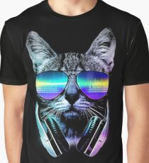 Music Lover Cat Graphic T-Shirt
