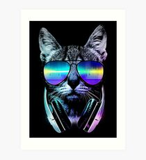 Music Lover Cat Art Print
