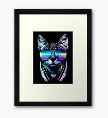 Lámina enmarcada Music Lover Cat