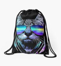 Music Lover Cat Drawstring Bag
