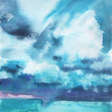 Watercolor blue sea on a background of thunderclouds by OlgaBerlet