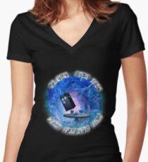 Dr Who Star Trek Race Through Time 2 Women's Fitted V-Neck T-Shirt