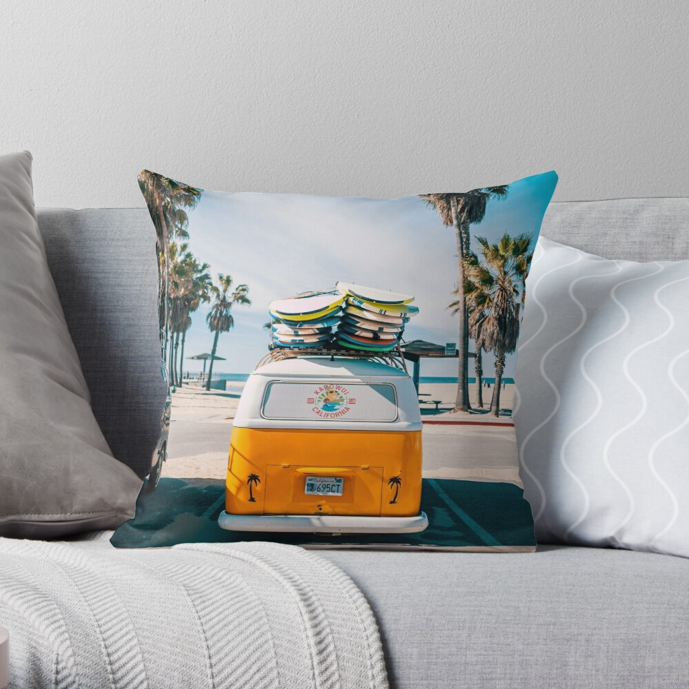 Combi van surf Throw Pillow
