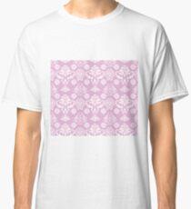 Pink and White Damask Pattern Classic T-Shirt