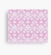 Pink and White Damask Pattern Canvas Print