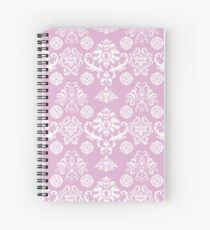 Pink and White Damask Pattern Spiral Notebook