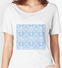 Blue and White Damask Pattern Women's Relaxed Fit T-Shirt