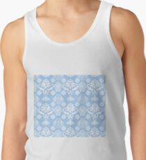 Blue and White Damask Pattern Tank Top