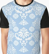 Blue and White Damask Pattern Graphic T-Shirt