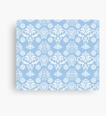 Blue and White Damask Pattern Canvas Print