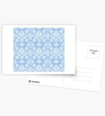 Blue and White Damask Pattern Postcards