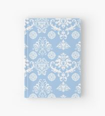 Blue and White Damask Pattern Hardcover Journal