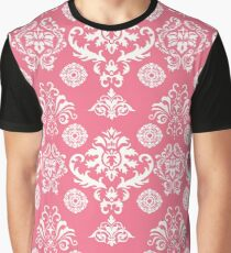 Red and White Damask Graphic T-Shirt