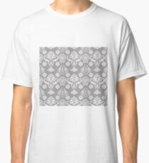 Silver and White Damask Classic T-Shirt