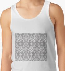 Silver and White Damask Tank Top