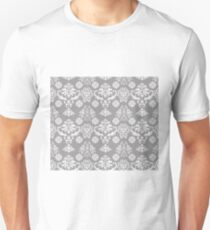Silver and White Damask Unisex T-Shirt