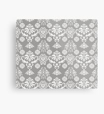 Silver and White Damask Metal Print