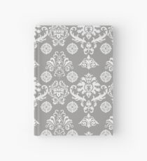 Silver and White Damask Hardcover Journal