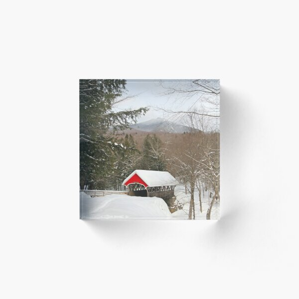 Red Covered Bridge in a Snowy Mountain Landscape Acrylic Block