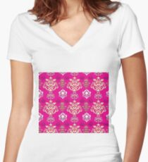 Multicoloured Damask Five Women's Fitted V-Neck T-Shirt