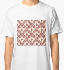 Red and Gold Vintage Damask Classic T-Shirt