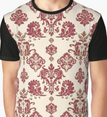 Red and Gold Vintage Damask Graphic T-Shirt