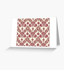Red and Gold Vintage Damask Greeting Card