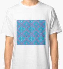 Vinatage Pink and Dark Blue Damask Pattern Classic T-Shirt