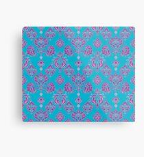 Vinatage Pink and Dark Blue Damask Pattern Metal Print