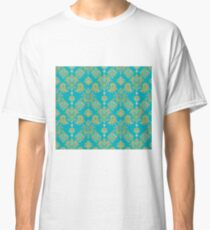 Gold and Blue Vintage Pattern Classic T-Shirt
