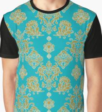 Gold and Blue Vintage Pattern Graphic T-Shirt