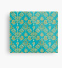Gold and Blue Vintage Pattern Metal Print