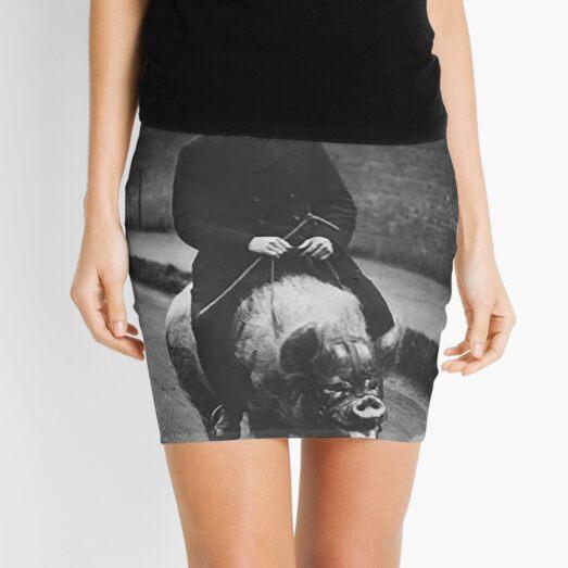 Vintage Man Riding a Pig Mini Skirt