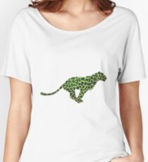 Leopard Black and Green Print Women's Relaxed Fit T-Shirt