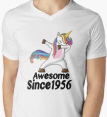 Unicorn Dabbing Awesome Since 1956 T-Shirt 62nd Birthday Gifts Men's V-Neck T-Shirt