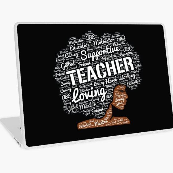 Words in Afro Art for African American Teacher Laptop Skin