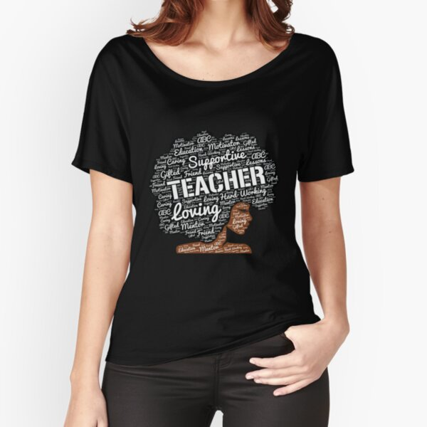 Words in Afro Art for African American Teacher Relaxed Fit T-Shirt