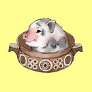 Pig in a casserole dish. by Graham Cooling