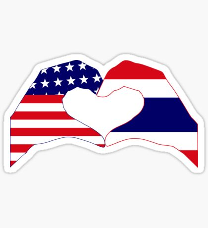 We Heart USA &Thailand Patriot Flag Series Sticker