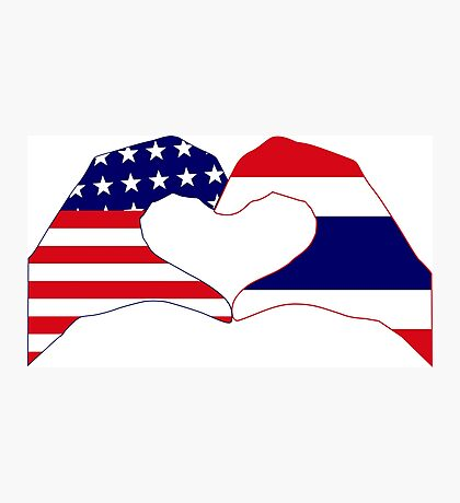 We Heart USA &Thailand Patriot Flag Series Photographic Print
