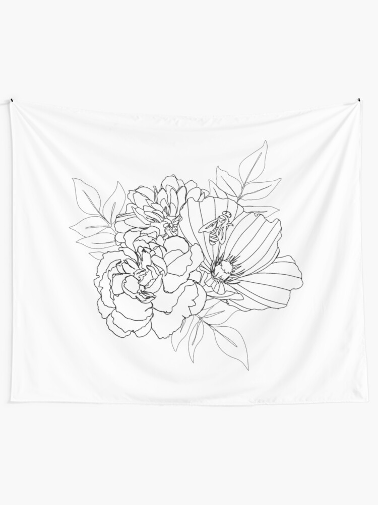 Alternate view of Floral Arrangment Tapestry