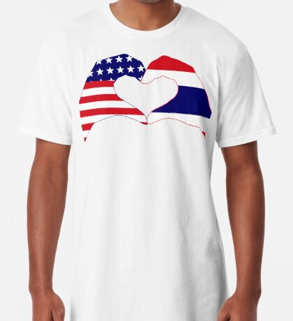 We Heart USA &Thailand Patriot Flag Series Long T-Shirt