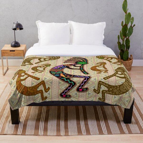 Kokopelli Rainbow Colors on Tribal Pattern  Throw Blanket