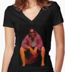 Dude from Big Lebowski – painting Women's Fitted V-Neck T-Shirt