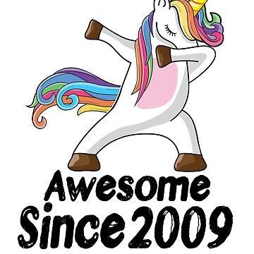 Unicorn Dabbing Awesome Since 2009 T-Shirt 9th Birthday Gifts by kelvil