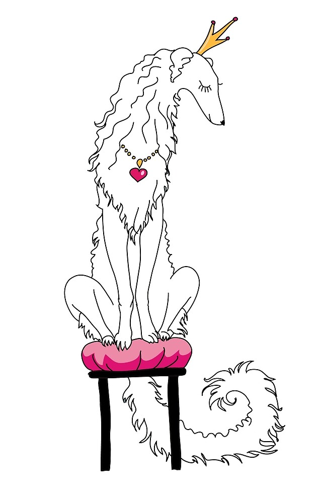 Borzoi Princess White by Happy Dog Swag